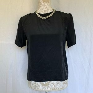 Anna & Frank / Vintage Black Silk Short Sleeve Top